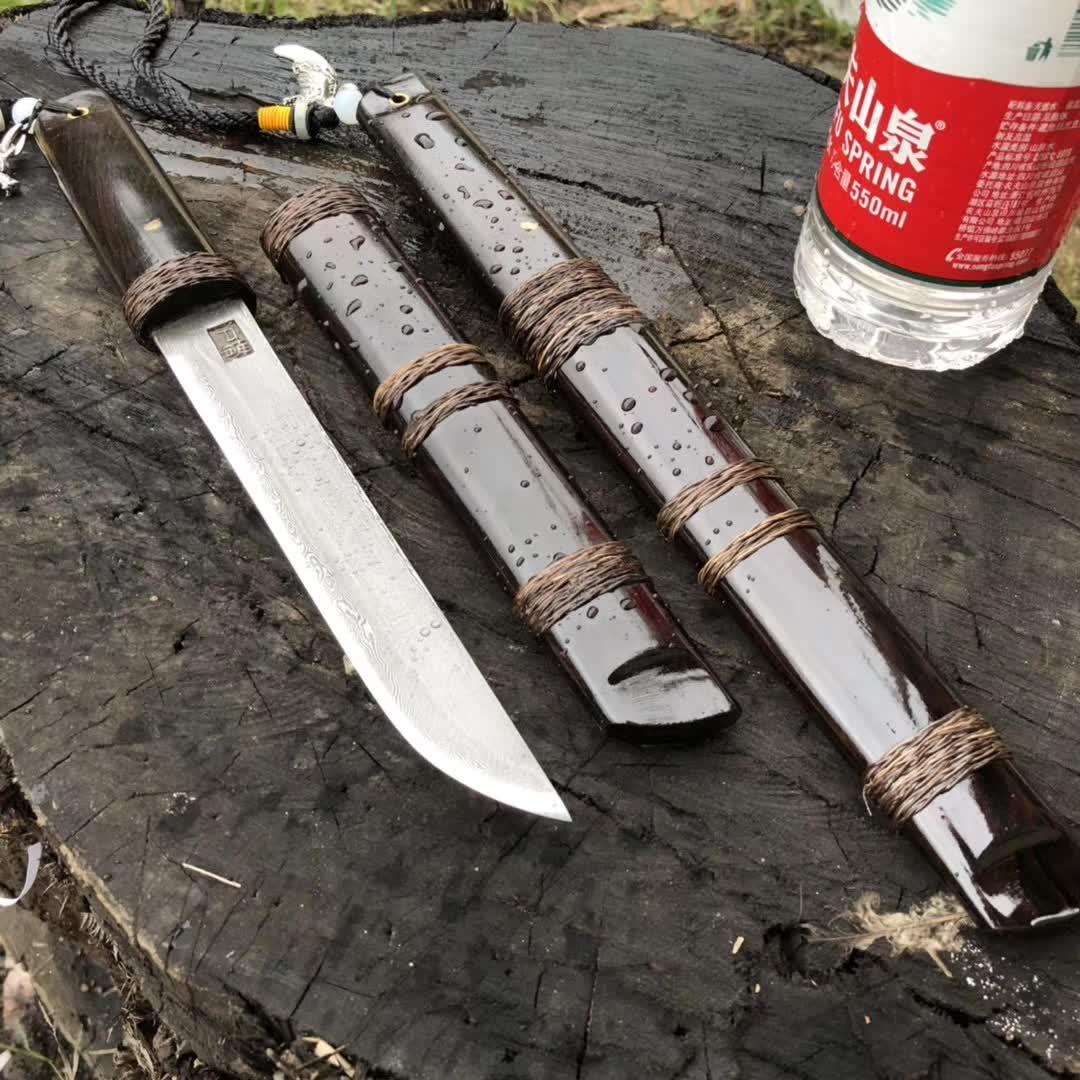 户撒工艺唐刀大唐迷你款小款黑檀木锻打花纹钢传统工艺