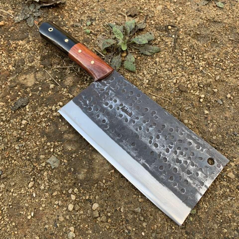 """经典""""(蜂窝)砍切两用刀菜刀""""弹簧钢锻打"""