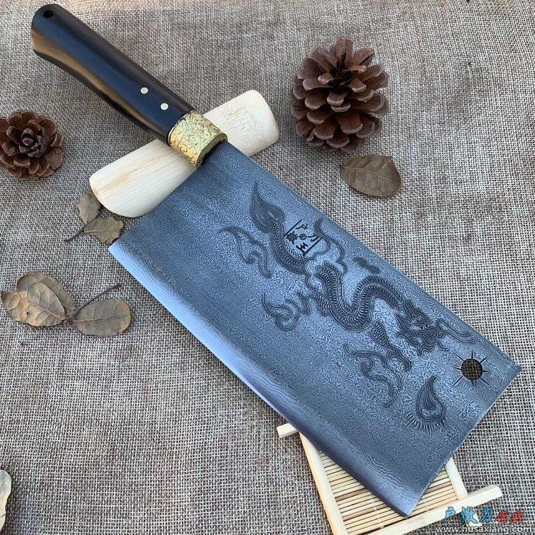 铜花百炼花纹钢龙凤呈祥菜刀