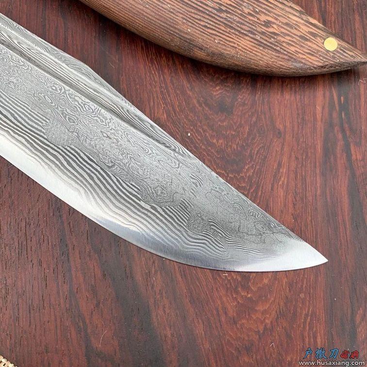 丛林匕首鸡翅木大马士革花纹钢弯刀