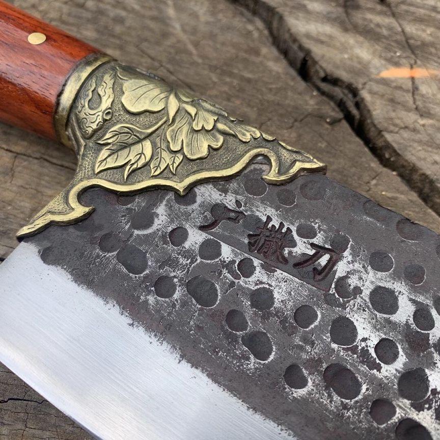 红酸枝铜花女士蜂窝菜刀